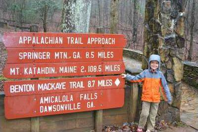 JV4H Christian Thomas  5  may be the youngest person ever to complete the Appalachian Trail. He is shown here at the southern terminus of the AT inside Amicalola Falls State Park.