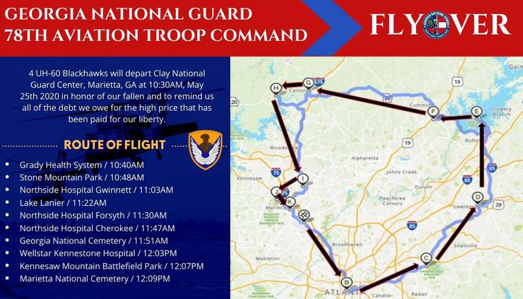 Georgia National Guard flyover route
