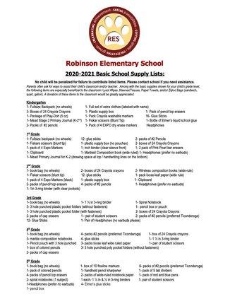 Robinson Elementary School Supplies list