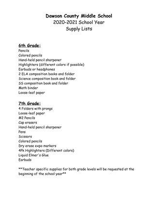 Dawson County Middle School Supplies list
